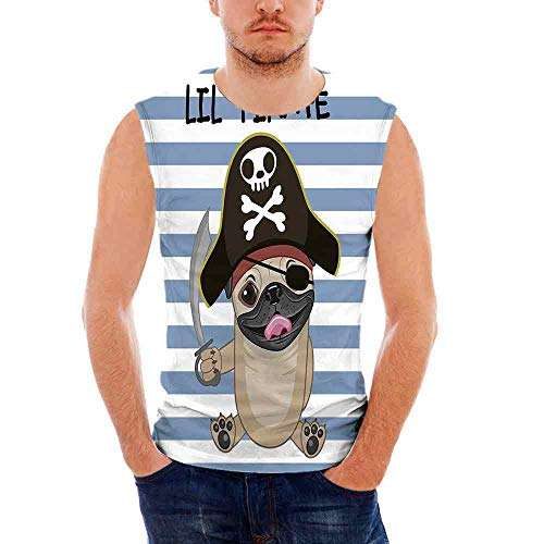 Mens Casual Sleeveless Crew Summer Pirate Printing Tank Top Vest Blouse,Buccan -