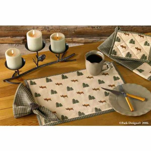 (Northern Exposure Placemat Woodland Moose Green Brown Tan Plaid Country Cabin Rustic Lodge Home Décor - Set of 4)