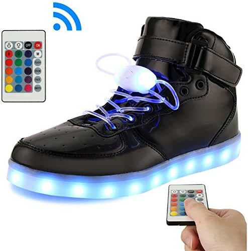 BeKing Kids High Top Light Up Shoes LED Flashing Sneakers For Boys Girls