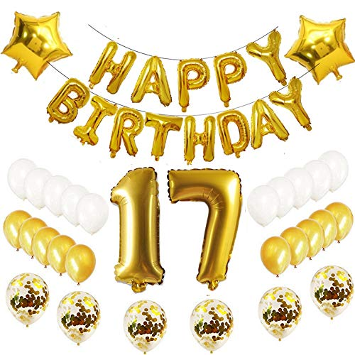 Oumezon 17 Globos de decoración para 17 cumpleaños, Set de ...