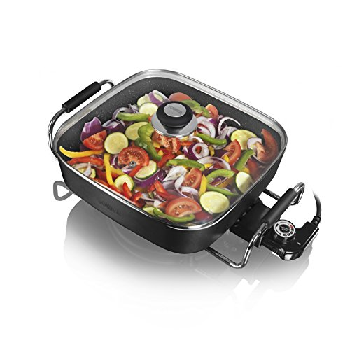 Tower T14010 Electric Sauté Pan with Ceramic Easy Clean Coating, Black, 30 cm