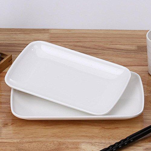 Daeou White melamine plate Japanese dishes Imitation porcelain dinnerware rectangular rice dish set: a set of two by Daeou