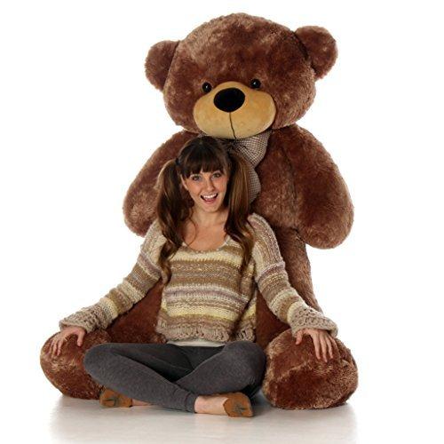 Lifesize Teddy Bear (5 Foot Mocha Brown Life Size Teddy Bear Huge Stuffed Animal Toy Huggable Cute Sunny Cuddles)