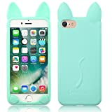 Flexible iPhone 5/5S Case, elecfan® 3D Cartoon Lovely Cat Soft Gel Cover Shockproof Silicone Protective Case For Apple iPhone 5/5S Devices – Azure