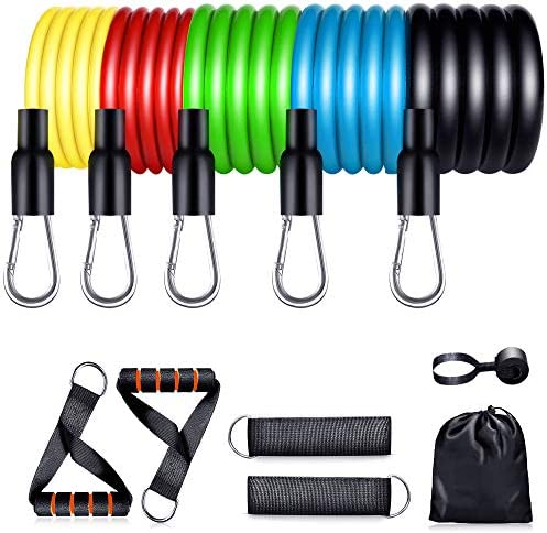 【2021 Newest】 Resistance Bands Set with Handles Exercise Workout Bands Fitness Home Door Anchor, Ankle Straps