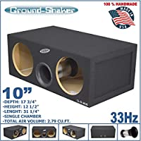 10 DUAL VENTED SUB BOX AERO PORT TUBE PORTED TUNED-32Hz 2.84-Cu.Ft MDF SUBWOOFER ENCLOSURE