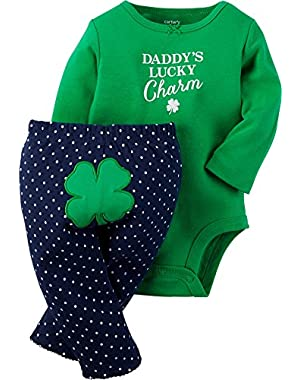 Baby Girls' St. Paddy's Day Bodysuit & Pant Set