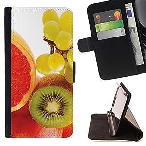 For Samsung Galaxy Core Prime - Fruit Macro Kiwi Grape /Funda de piel cubierta de la carpeta Foilo con cierre magn???¡¯????tico/ - Super Marley Shop -