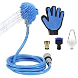 MEWTOGO Pet Bathing Tool- Pet Shower Sprayer and Scrubber in One with 8.2 ft Blue Hose&3 Faucet Adapters for Dogs Cats Shower Massage, Grooming Glove Included