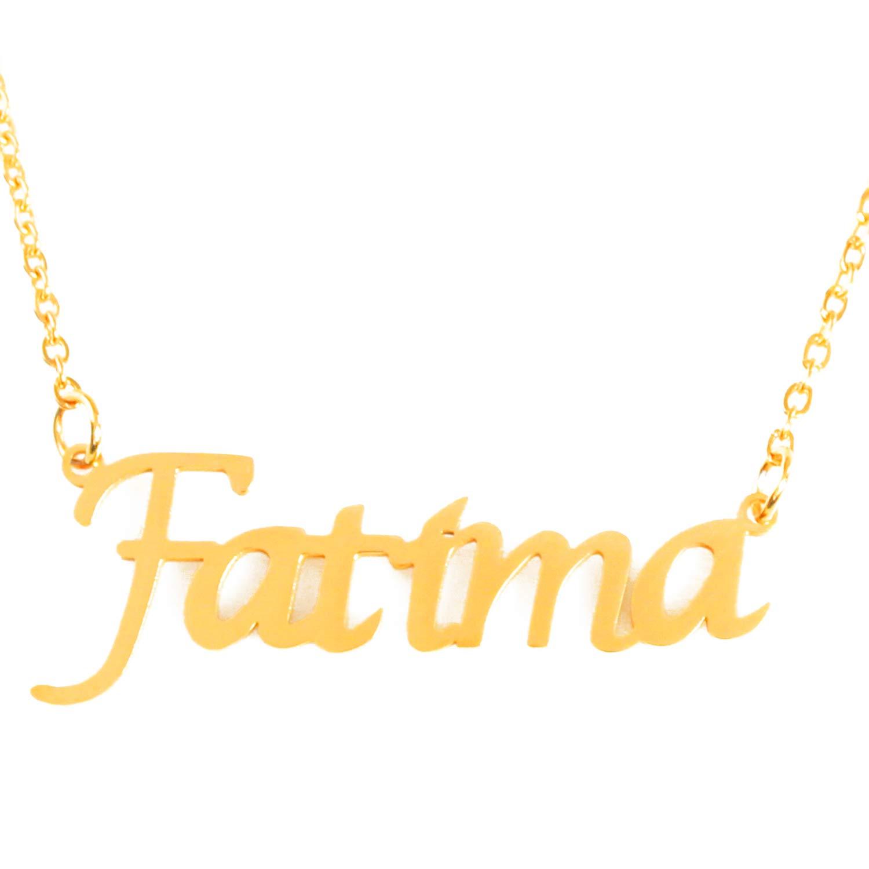 18ct Gold Plated Zacria Fatima Custom Name Necklace Personalized
