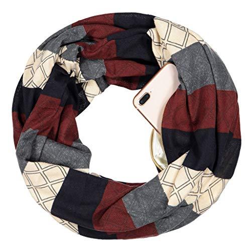 Kofun Women Scarf, Womens Bohemian Pashmina Double Layer Hidden Zipper Pocket Infinity Loop Scarf Geometric Pattern Contrast Color Ethic Winter Ring Blanket Wrap Scarf and Shawl 3#