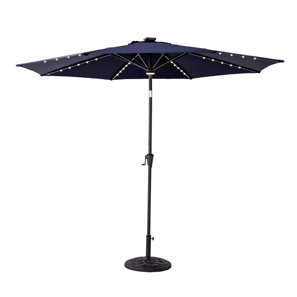 C-Hopetree 11 feet Solar Power LED Lights Outdoor Patio Market Umbrella with Crank Winder, Push Button Tilt, Navy Blue by C-Hopetree