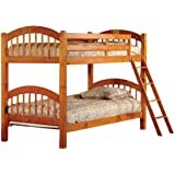 Honey Finish Wood Arched Design Twin Size Convertible Bunk Bed
