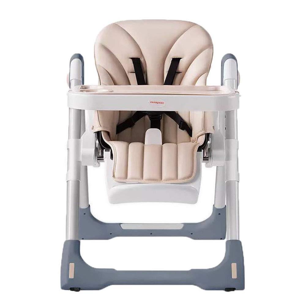 子供用ダイニングチェア 折り畳み式車輪付き多機能ベビーハイチェア調節可能な送り椅子ダイニングチェア 省スペース (色 : ベージュ, サイズ : 56*81*102cm) 56*81*102cm ベージュ B07S7DBXTR