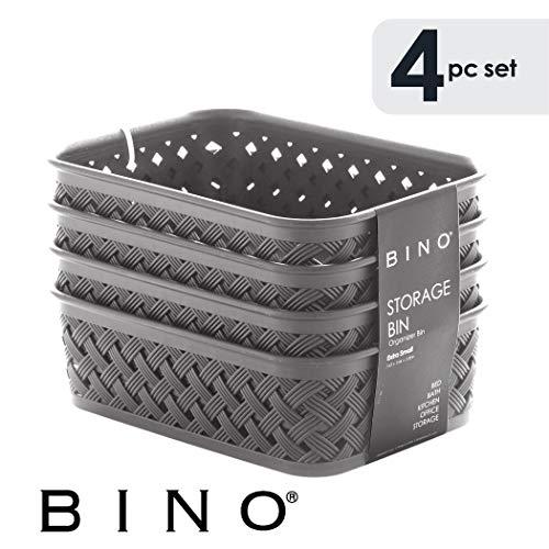 BINO Woven Plastic Storage Basket, Small – 4 Pack (Grey) -