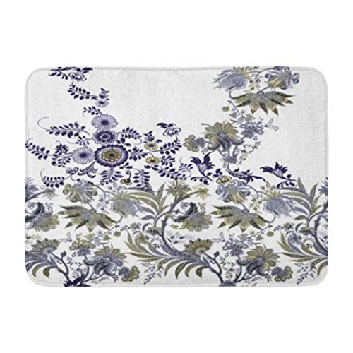 Paisley,Darkchocl Decorative Bath Mat Vintage with Flower and Paisley Ornaments Absorbent Non Slip 100% Flannel 17''L x 24''W for Bathroom Toilet Bath Tub Living Room ()