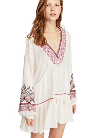 053a916a5d901 Free People Wild ONE Embroidered Mini Dress (Ivory) at Amazon ...