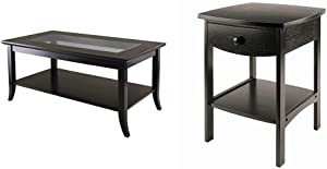 Winsome Genoa Rectangular Coffee Table with Glass Top and Shelf & Wood Claire Accent Table, Black
