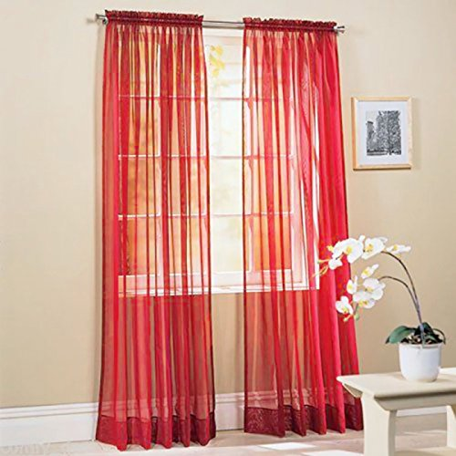 Befaith New Solid Color Voile Sheer Curtain Panel Window Curtains 100*200cm Red