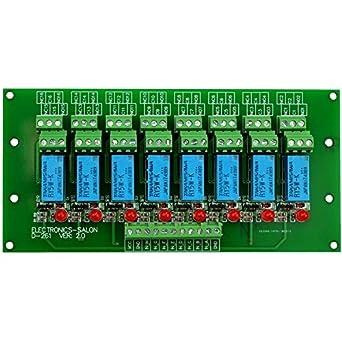 ELECTRONICS-SALON 8 tabla de la señal de módulo de relé DPDT, DC5V versión,  para foto de Arduino 8051 AVR MCU