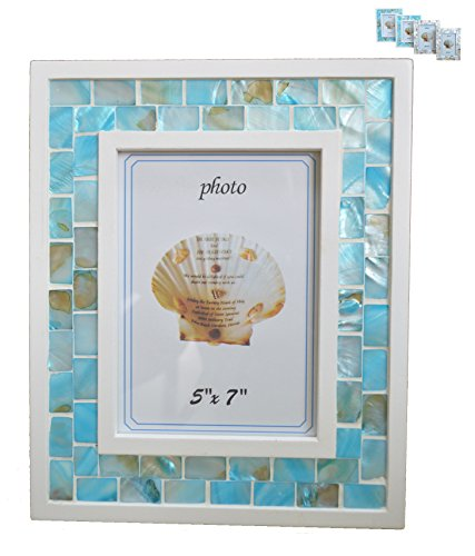 GIFTME 5 Mother of Pearl Mosaic Photo Frame,Beach Table Picture Frame(5x7 inch, Blue)