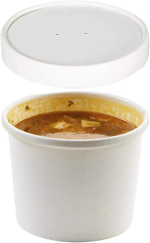 (Set of 50) 8-Ounce Poly-Coated White Paper Soup Containers with Vented Lids Combo, Hot/Cold Food Cups - Ice Cream/Frozen Yogurt, Paper Soup Cups to-Go/Take-Out Food Containers by Tezzorio