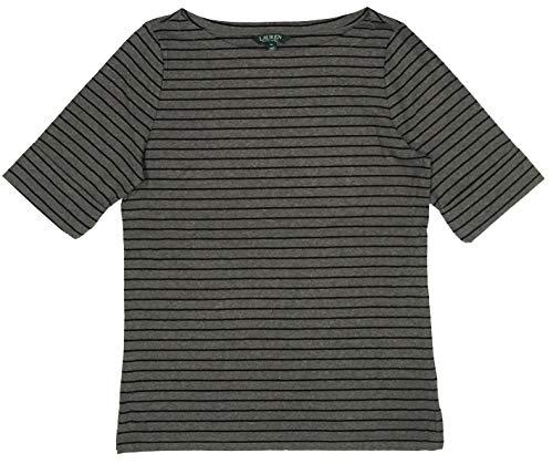 - LAUREN RALPH LAUREN Boatneck Stretch Cotton Tee Top (XL, Shadow Grey/Polo Black Striped)