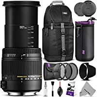 Sigma 18-250mm f3.5-6.3 DC MACRO OS HSM Lens for NIKON DSLR Cameras w/ Advanced Photo and Travel Bundle