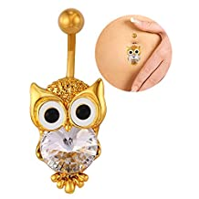 U7 Sexy Women Belly Button Rings Rhinestone Cute Owl Body Piercing Jewelry Gold/Platinum Plated Barbell Navel Ring Anneau de Nombril