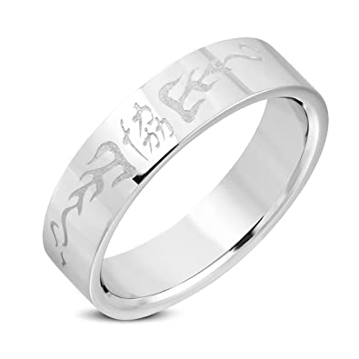 Stainless Steel Chinese Symbol For Unity Flat Band Ringamazon