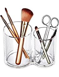 Acrylic Makeup Brush Cup Holder, All-Purpose 2-Cup Cosmetics Organizer(Clear)