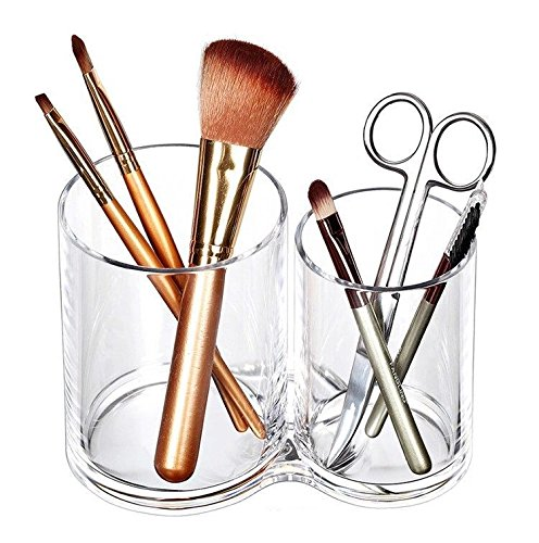 - Acrylic Makeup Brush Cup Holder, All-Purpose 2-Cup Cosmetics Organizer(Clear)