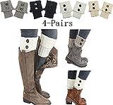 Women 4Pairs Winter Crochet Knit Leg Warmers Girls Boot Cuff Socks Short Leg Warmer (4 Pairs-B)
