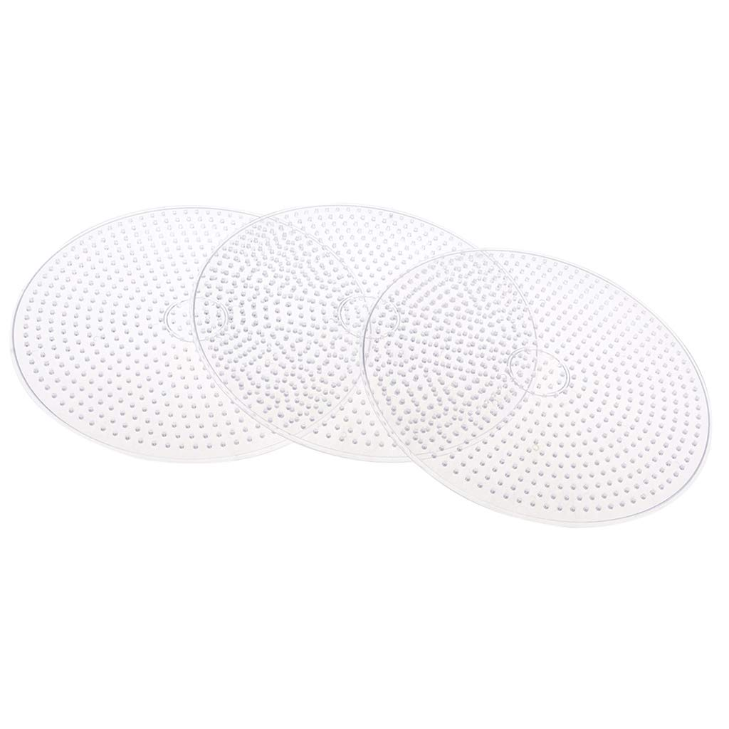 Prettyia 3 Pieces Clear Plastic 15cm Large Round Fuse Beads Pegboards Peg Board for Kids Children DIY Crafts Toy