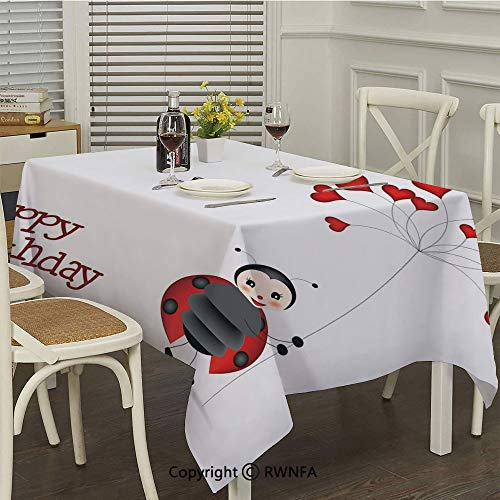 RWNFA Waterproof Tablecloth,Ladybug Wings Flower Inspired Heart Shaped Balloons(50