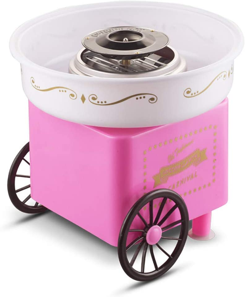 Jiangmei Family Party Electric Cotton Candy Machine with Wheel,Nostalgia Children Home Cotton Sugar Maker Trolly,Portable Wheel Convient Carry for Outdoor and Festival Party,Ideal Gift for Birthday,US Plug