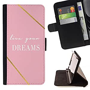 For LG G2 D800 Case , Cotización del oro rosa motivación texto- la tarjeta de Crédito Slots PU Funda de cuero Monedero caso cubierta de piel