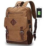 Cheap Vintage Backpack 15.6 for Men, Modoker Multipurpose Laptop Messenger Backpack for School, College, Travel Hiking Rucksack Daypack in Brown