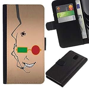 Billetera de Cuero Caso del tirón Titular de la tarjeta Carcasa Funda del zurriago para Samsung Galaxy Note 3 III N9000 N9002 N9005 / Business Style Abstract Face