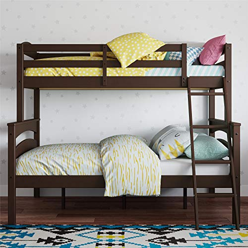 Dorel Living Brady Solid Wood Bunk Beds Twin Over Full with Ladder and Guard Rail