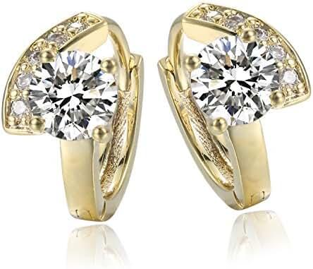 Jonline24h Luxury Girl Ladys Womens Copper Real 18k Yellow Gold Plated Jewelry Zirconia Drop Hoop Huggie Earrings Wedding