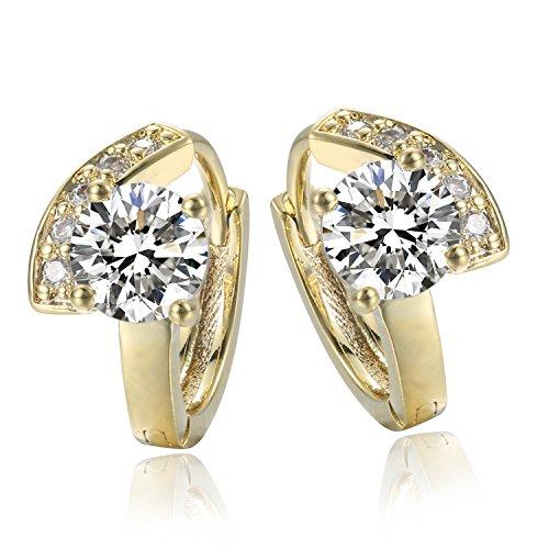 Jonline24h Luxury Girl Ladys Womens Copper Real 18k Yellow Gold Plated Jewelry Zirconia Drop Hoop Huggie Earrings Wedding ()