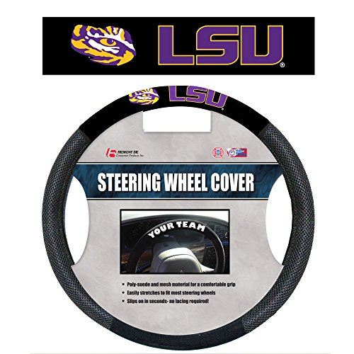 NCAA LSU Tigers Poly-Suede Steering Wheel Cover, One Size, Team Color