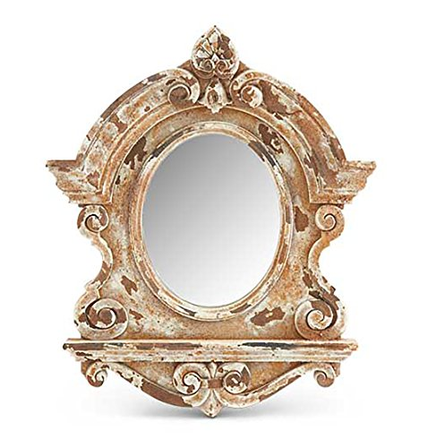 K&K Interiors Ornate Distressed Wood Grain Resin Scroll Framed Wall Mirror, Architectural Antique Rustic Cream