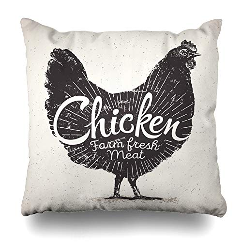 DIYCow Throw Pillow Cover Pillowcase Breast Farm Graphical Chicken Inscription Food Drink Graphic Organic Label Design White Home Decor Design Square Size 16