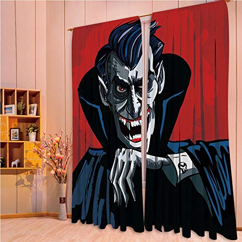 ZHICASSIESOPHIER Darkening Thermal Insulated Short Curtain Adjustable Tie Up Shade Panel for Small Window,Rod Pocket,Cape Sharp Teeth Evil Creepy Smile Halloween 84Wx95L Inch