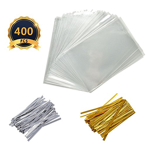 400 PCS 4X6 Inch Cellophane Treat Bags Christmas Gift Bag Clear Cello Treat Bags with 400 Twist Ties for Wedding Cookie Gift Candy Bakery (Wedding Cello Bags)