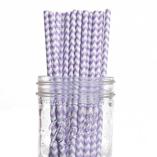 Pack Vintage Paper Straws, Lilac Lavender Chevron ()