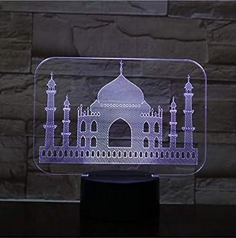 India Taj Mahal Usb 3D Lámpara de Luz de Noche Led ...