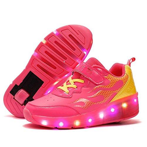 Super color Kids LED Light up Sneakers Single Wheels Roller Skate Shoes Best Gift for Halloween Christmas(Red 1wheels 28/11 M US Little Kid)
